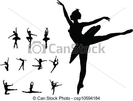 450x342 Set Dance Girl Ballet. Set Dance Girl Ballet Vector Silhouettes.
