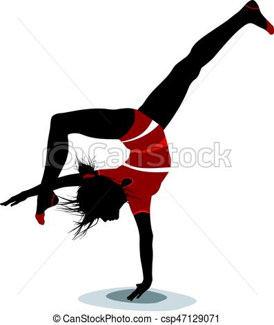 397x470 Silhouette Of A Dancing Girl. Vector Silhouette Of A Dancing Girl