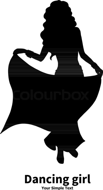 434x800 Vector Illustration Of A Silhouette Of A Dancing Girl. Eastern