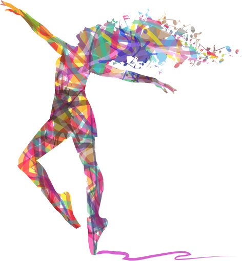 472x510 Colorful Paint With Girl Dancing Vector Free Vector In