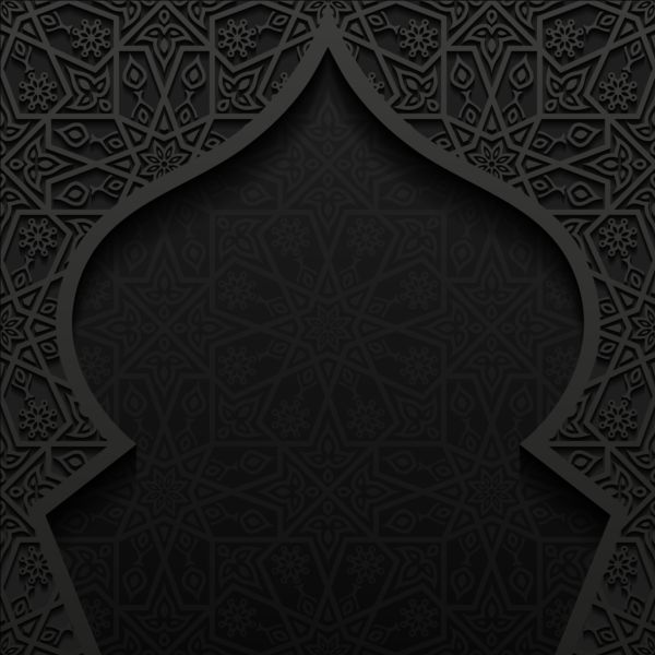 600x600 Islamic Mosque With Black Background Vector 05 Vectors