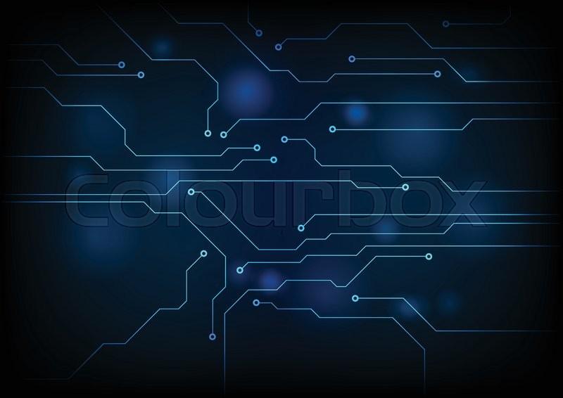 800x566 Dark Blue Circuit Board Technology Background. Vector Graphic