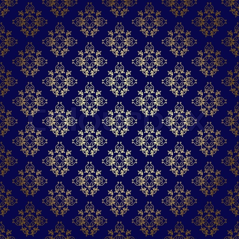 800x800 Dark Blue Vector Seamless Background With Gold Gradient Stock