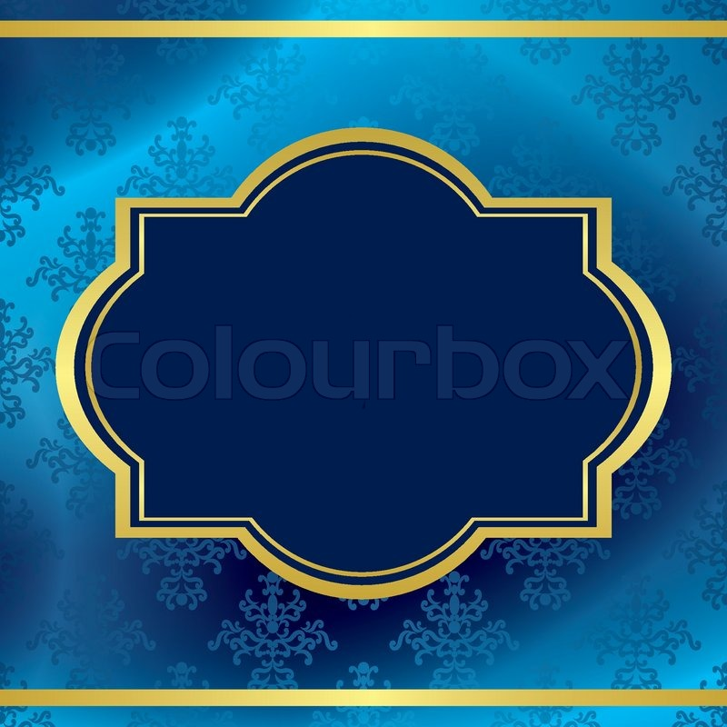 800x800 Vector Dark Blue Background With Gold Frame And Pattern Stock