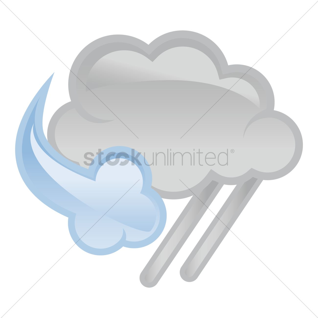 1300x1300 Dark Cloud With Rain And Strong Wind Vector Image