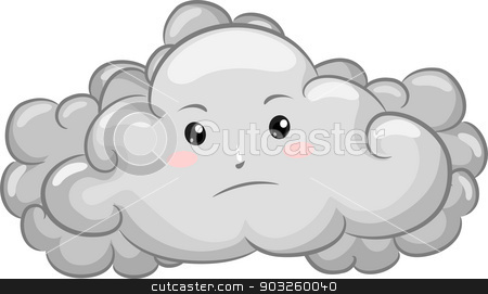 450x271 Gloomy Dark Cloud Mascot Stock Vector
