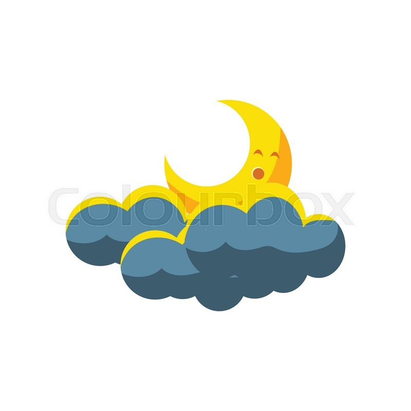 800x800 Moon Crescent Sleeping In Dark Clouds Cute Childish Style Bright