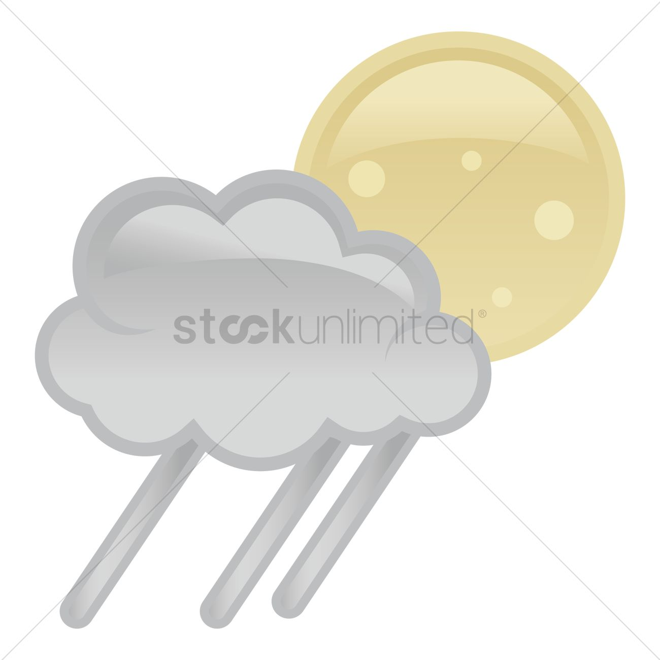 1300x1300 Moon Behind Dark Cloud With Rain Vector Image