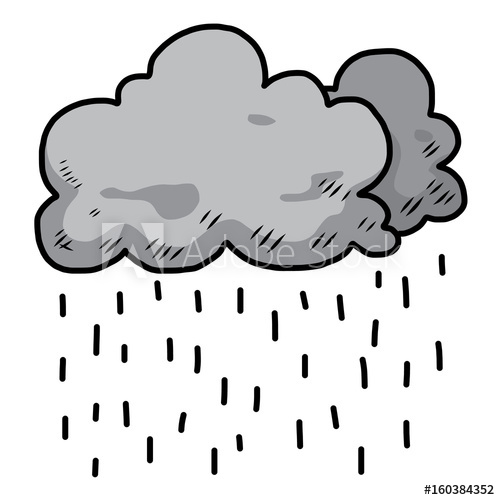 500x500 Dark Cloud And Rain Cartoon Vector And Illustration, Hand Drawn