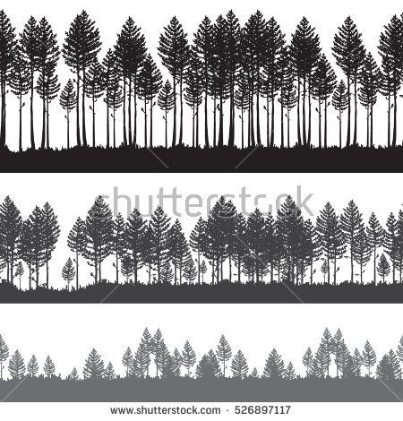 450x470 Seamless Vector Pine Forest Landscape. Beautiful Hand Drawn