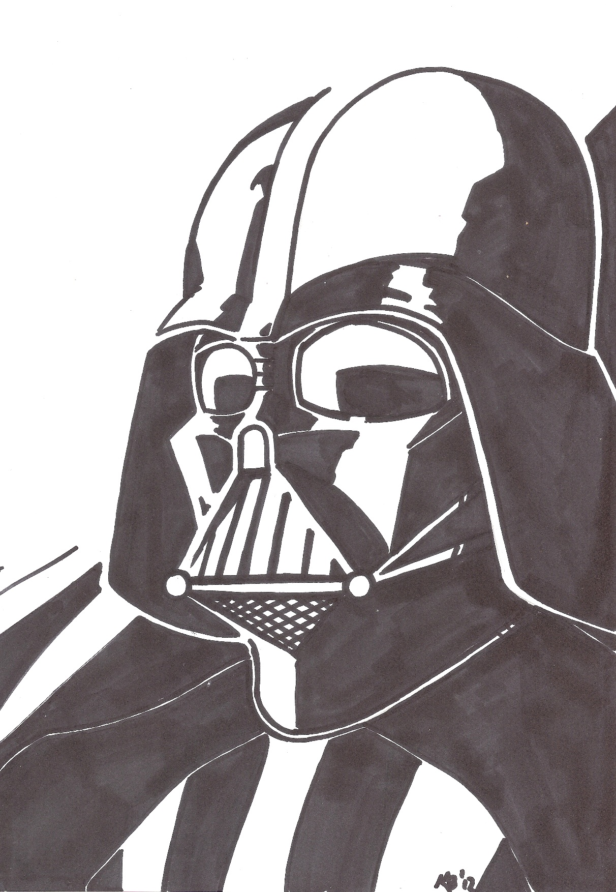 1212x1754 Collection Of Darth Vader Drawing Head High Quality, Free