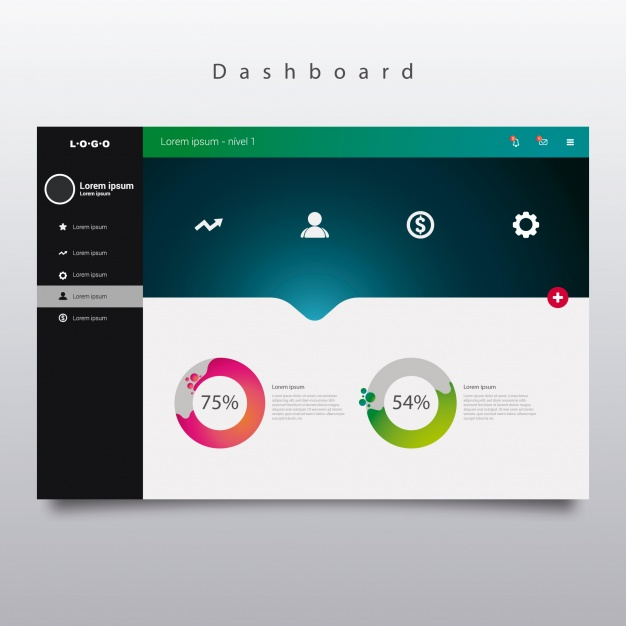 626x626 Dashboard Template With Diagrams Vector Free Download