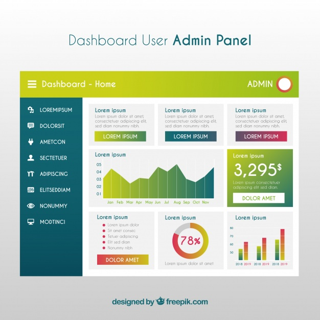 626x626 Modern Dashboard Admin Panel With Gradient Style Vector Free