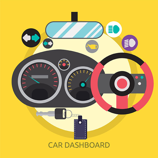 650x650 Car Dashboard Vector Image