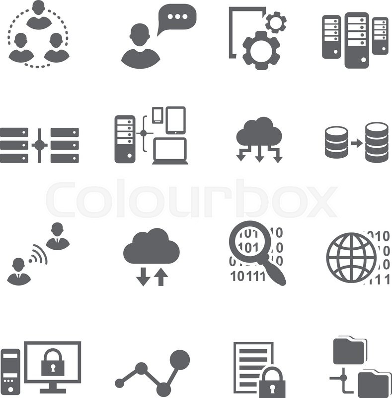 789x800 Big Data Icon Set, Data Analytics, Cloud Computing. Digital