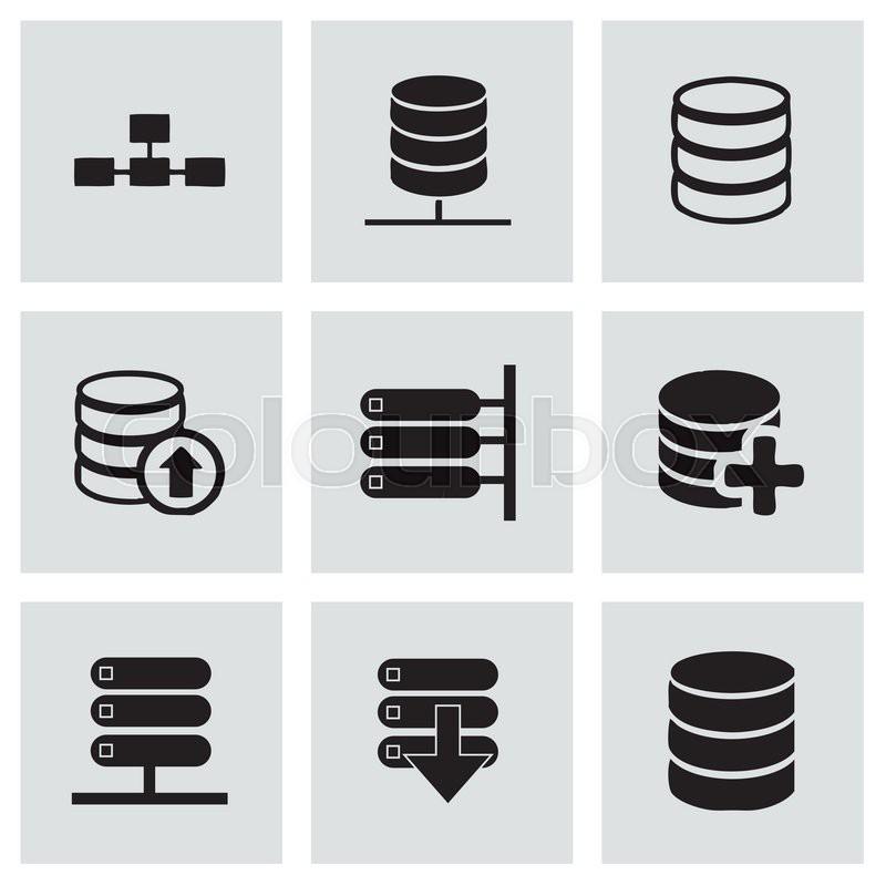 800x800 Vector Database Icon Set On Grey Background Stock Vector Colourbox
