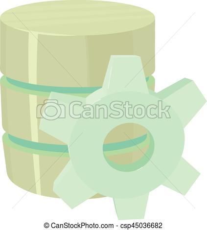 423x470 Working Database Icon, Cartoon Style. Working Database Icon