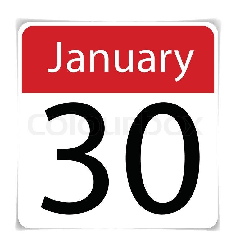 760x800 Simple Calendar Date January 30th, Vector Illustration Stock