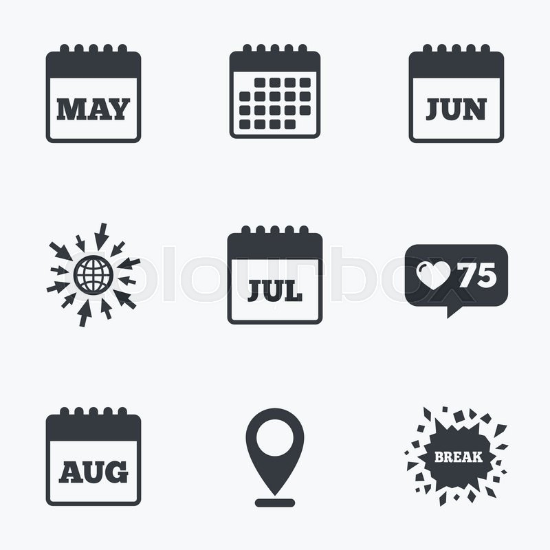 800x800 Calendar, Like Counter And Go To Web Icons. Calendar Icons. May