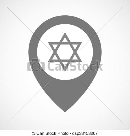 450x470 Isolated Map Marker With A David Star. Illustration Of An Isolated