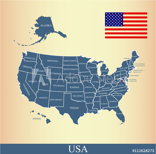 500x494 Usa Map Vector Outline With United States Flag Vector Outline And