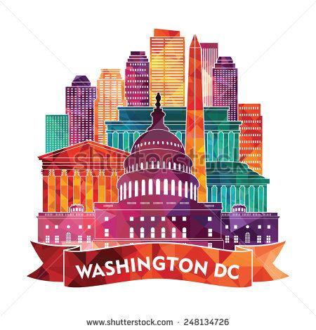 450x470 Washington Dc Skyline. Vector Illustration Washington Dc Clipart