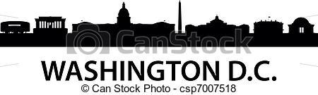 450x135 Skyline Washington D.c. Detailed Silhouette Of Washington D.c.