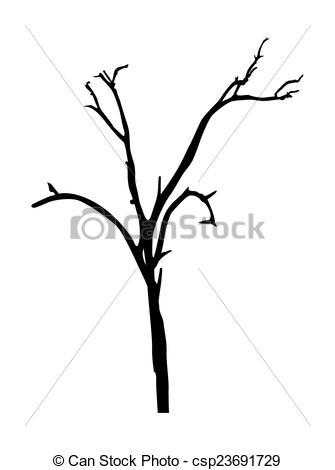 335x470 Dead Tree Shape. Abstract Grunge Retro Halloween Dead Tree Vector