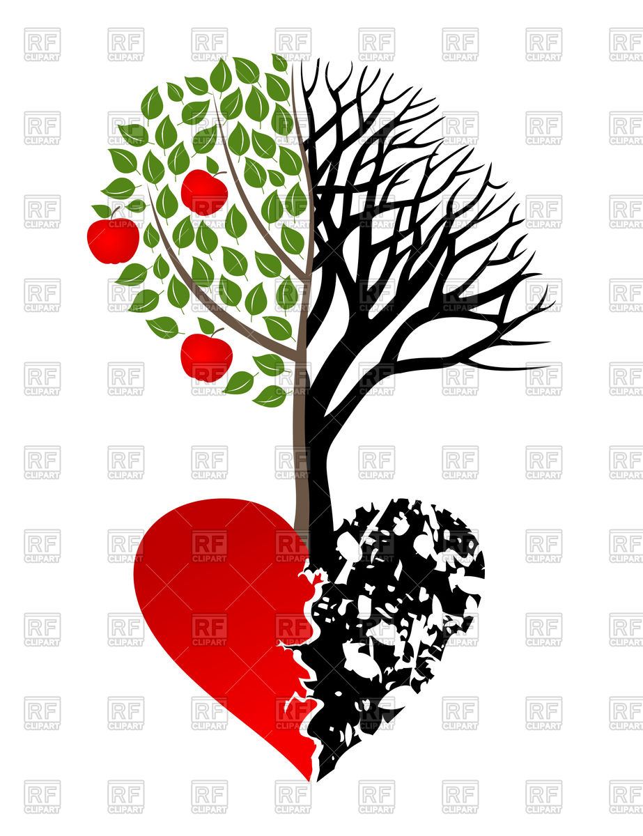 923x1200 Live And Dead Tree Growing Up From Heart Vector Image Vector