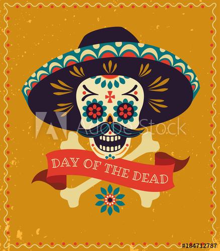 438x500 Dia De Los Muertos. Day Of The Dead Vector Poster With Festive
