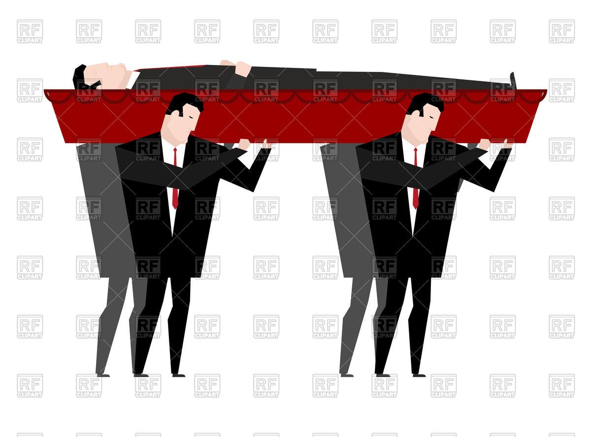 1200x888 Funeral. Men Carry Coffin With Dead. Vector Image Vector Artwork
