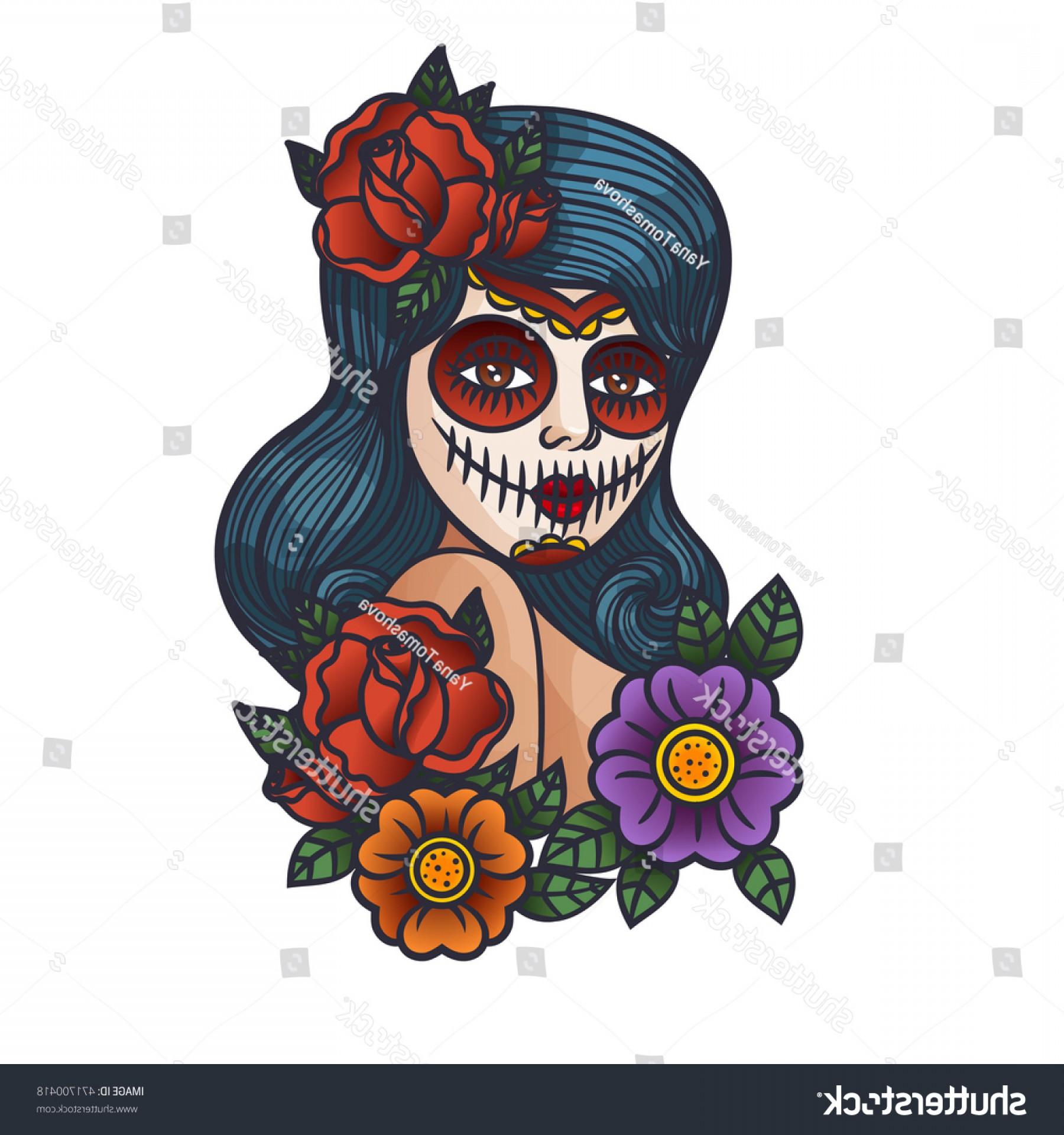 1800x1920 Mexican Day Dead Vector Girl Makeup Shopatcloth