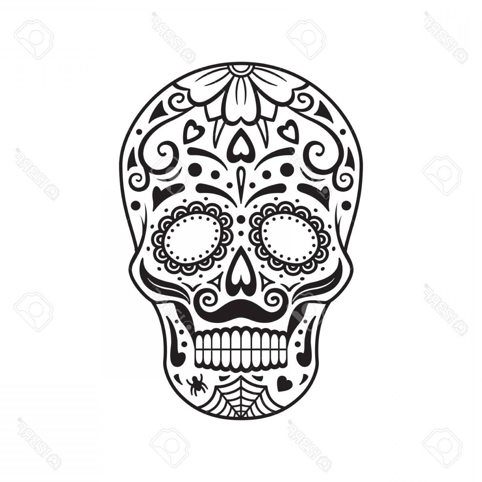 1560x1560 Photostock Vector Sugar Skull Black Tattoo Silhouette Mexican Day