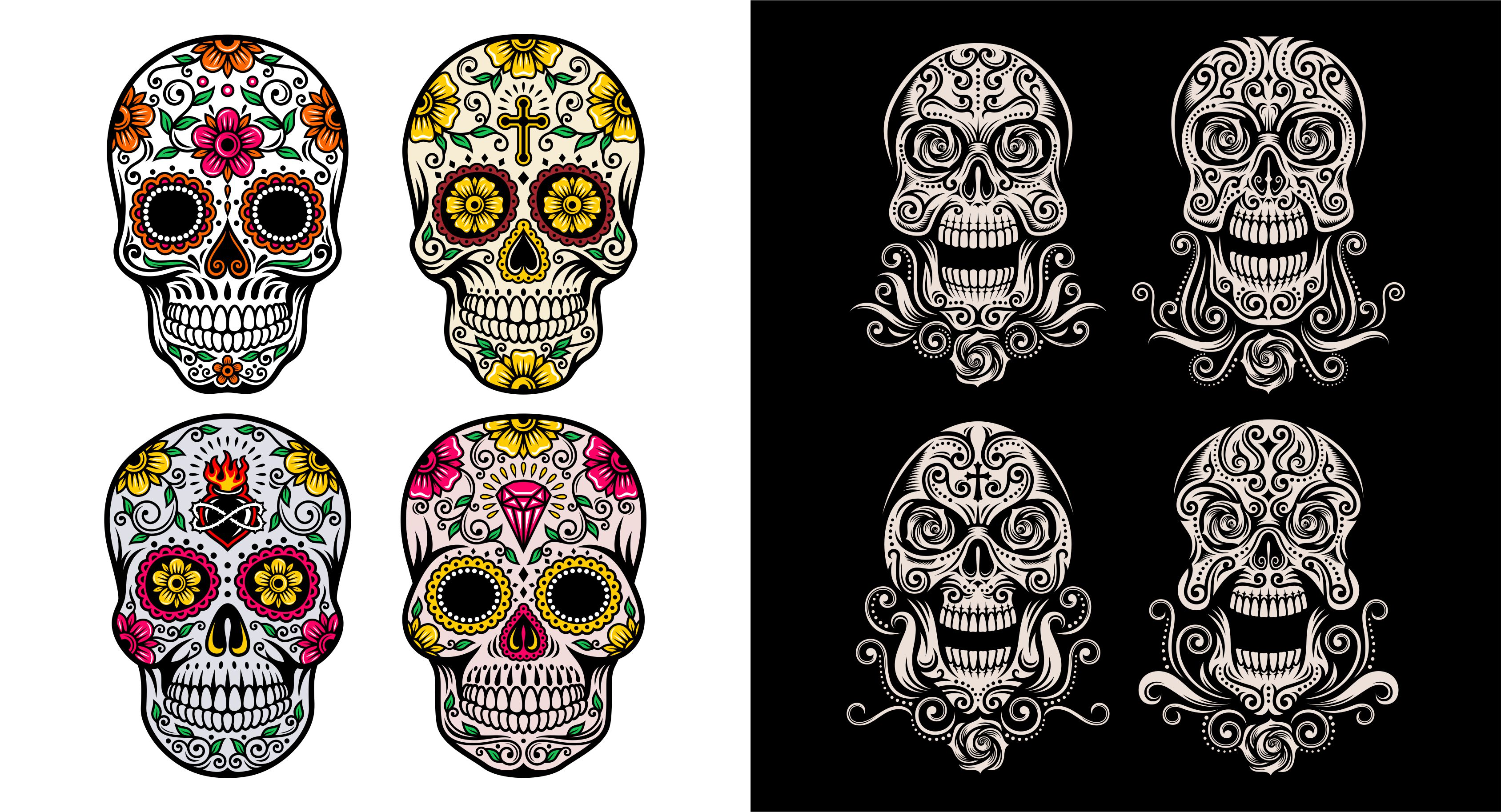 3376x1827 Day Of The Dead Skull Vector On Graphicriver
