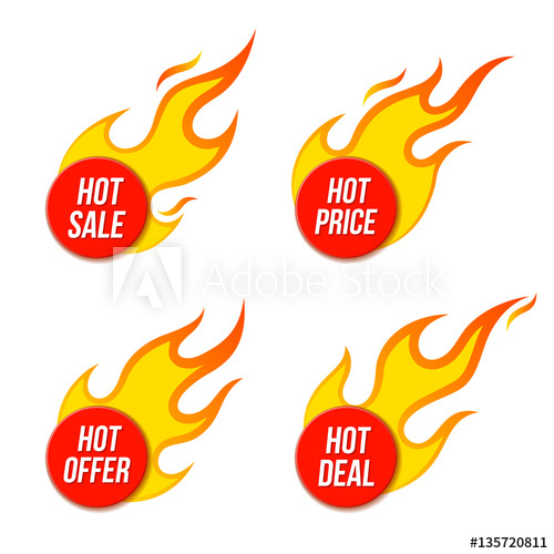 500x500 Hot Sale Price Offer Deal Vector Labels Templates Stickers Designs