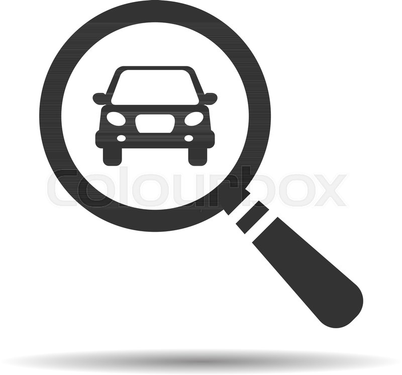 800x746 Magnifying Glass With A Car. Car Selling Icon. Search Car, Car