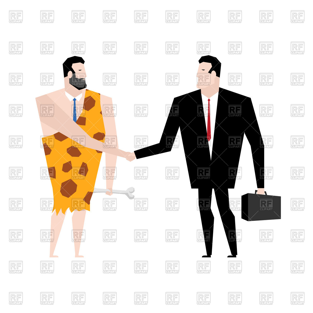 1200x1200 Businessman And Ancient Man Make Deal Vector Image Vector