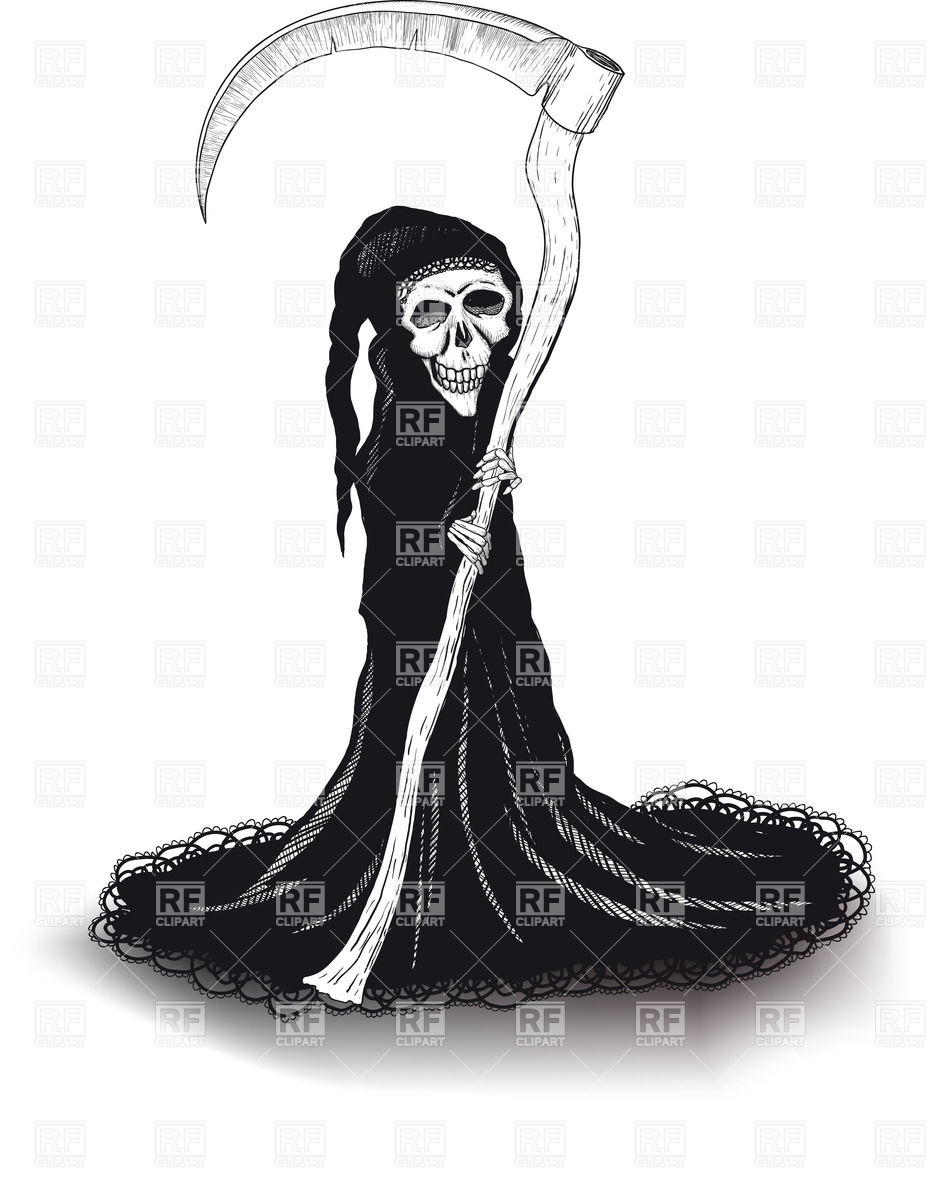 940x1200 Death In Black With A Scythe In A Lace Robe With Shadow Vector