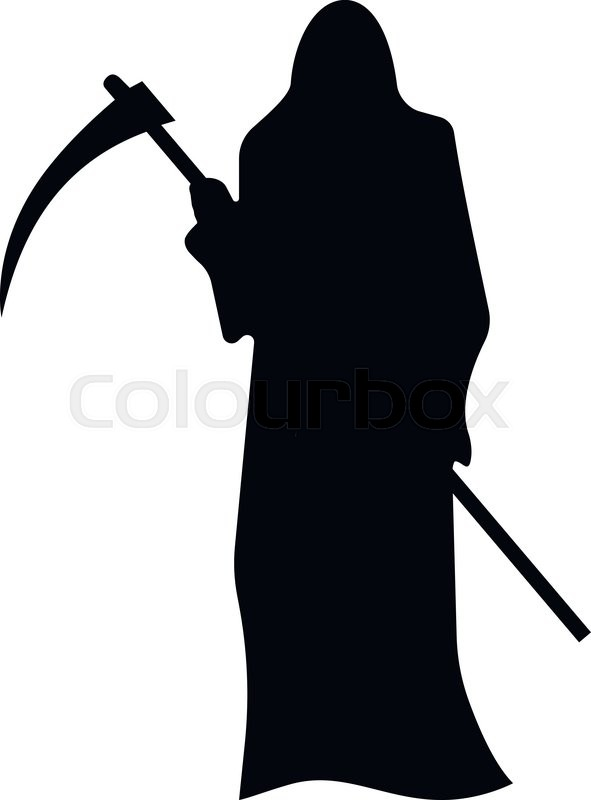 591x800 Death With A Scythe Silhouette Isolated On White Background