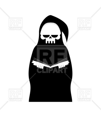 348x400 Grim Reaper With Book, Death In Hood On White Background Vector