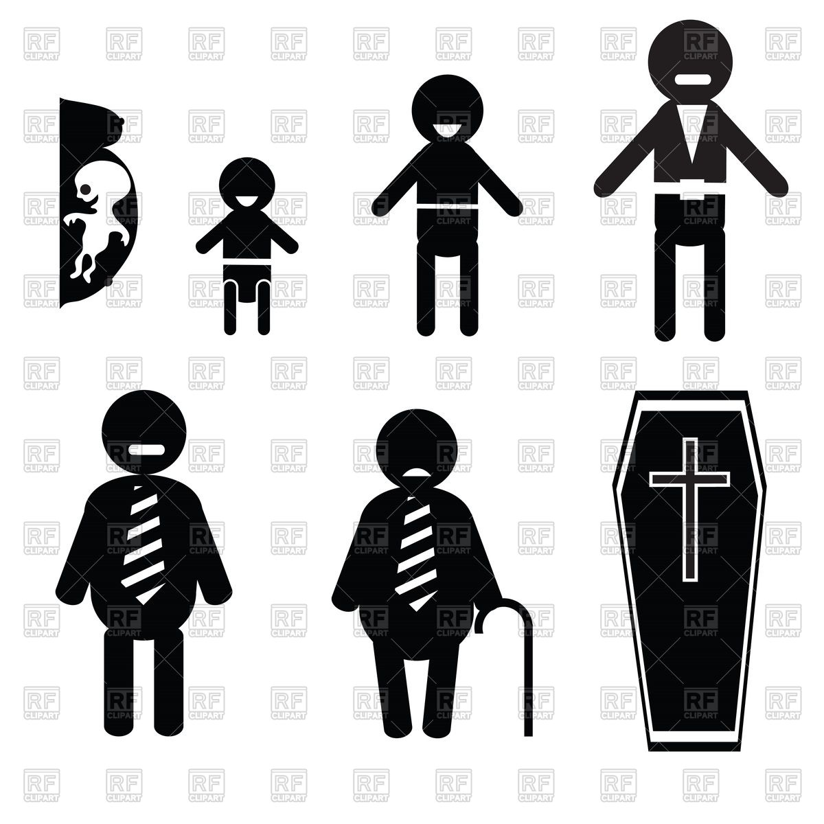 1200x1200 Human Life From Birth To Death Vector Image Vector Artwork Of