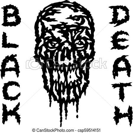 450x451 The Skull Is Bleeding. Black Death. Vector Illustration. Genre Of