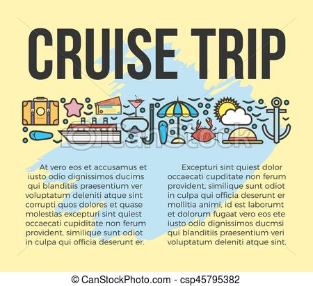 450x412 Cruise Trip Information List Vector Illustration. Sun Bathes On