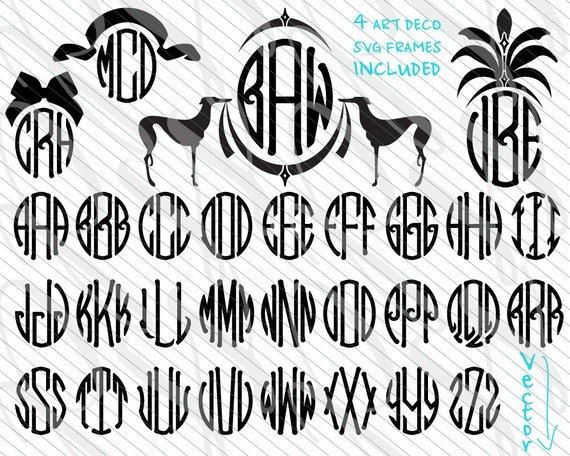 570x456 Deco Monogram Svg Art Nouveau Monogram Font Dxf Vector Art Etsy
