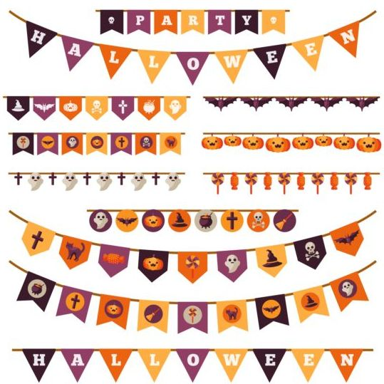 539x539 Halloween Flag Decoration Vector Set Free Download