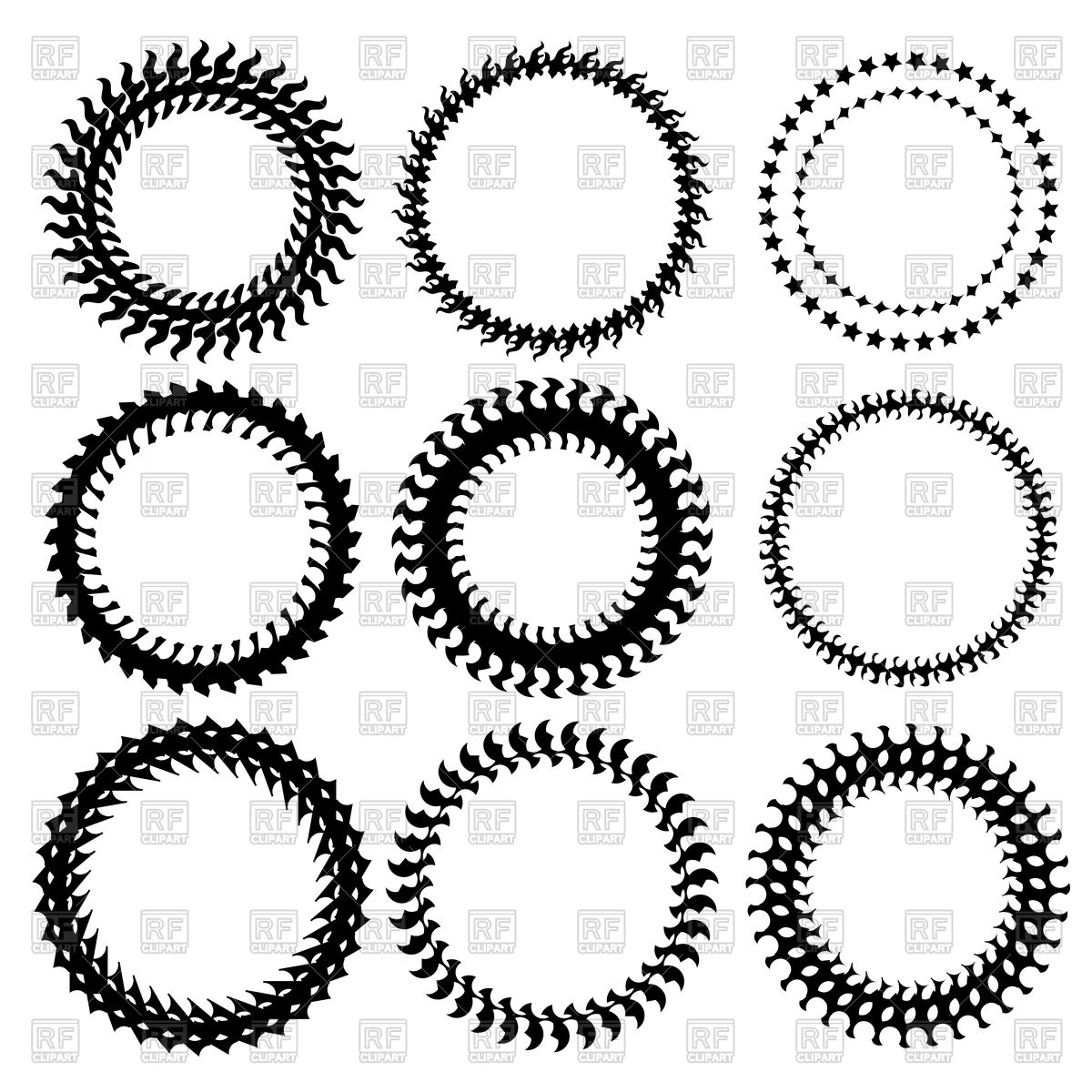 1200x1200 Set Of Circle Decorative Frames Vector Image Vector Artwork Of