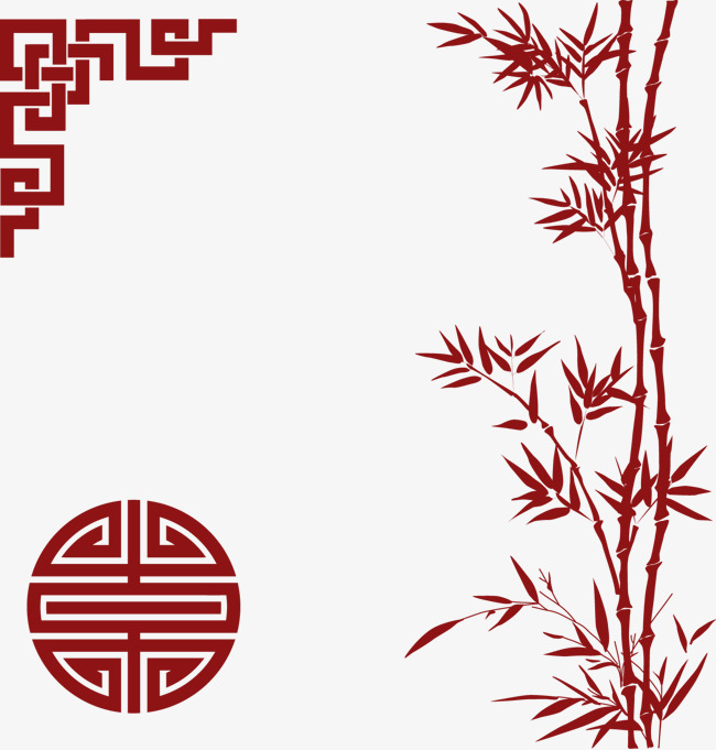 650x681 Chinese New Year Decorative Elements Red Bamboo, Decoration