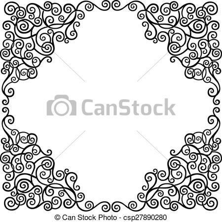 450x449 Scroll Border. Black Graphic Scroll Decorative Border, Vector