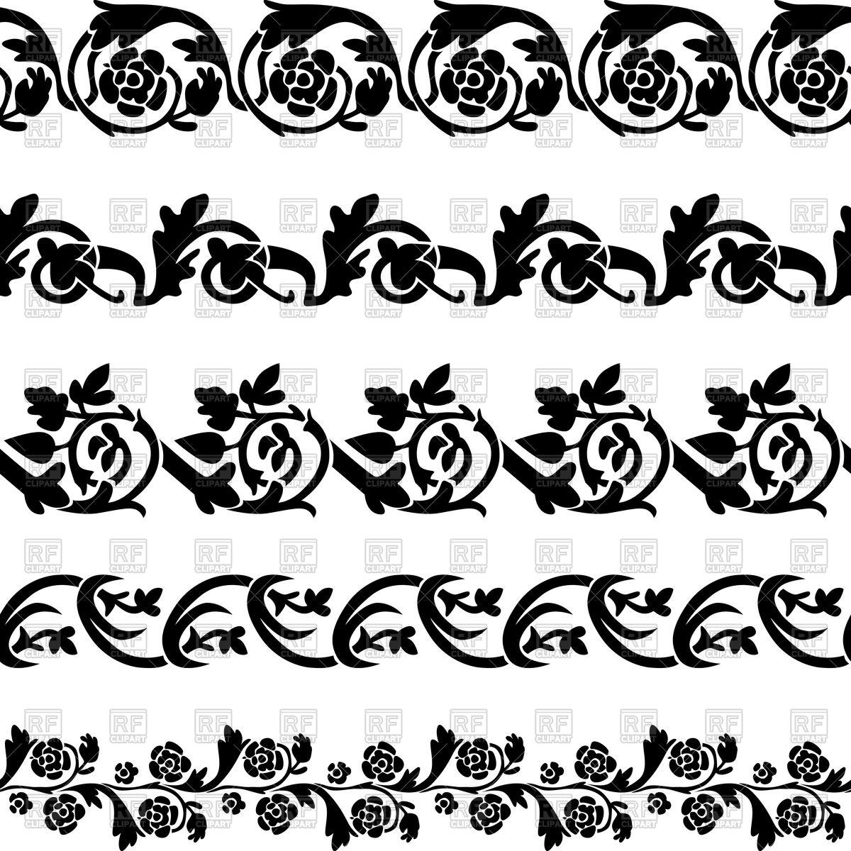 1200x1200 Set Of Black Floral Decorative Borders Vector Image Vector