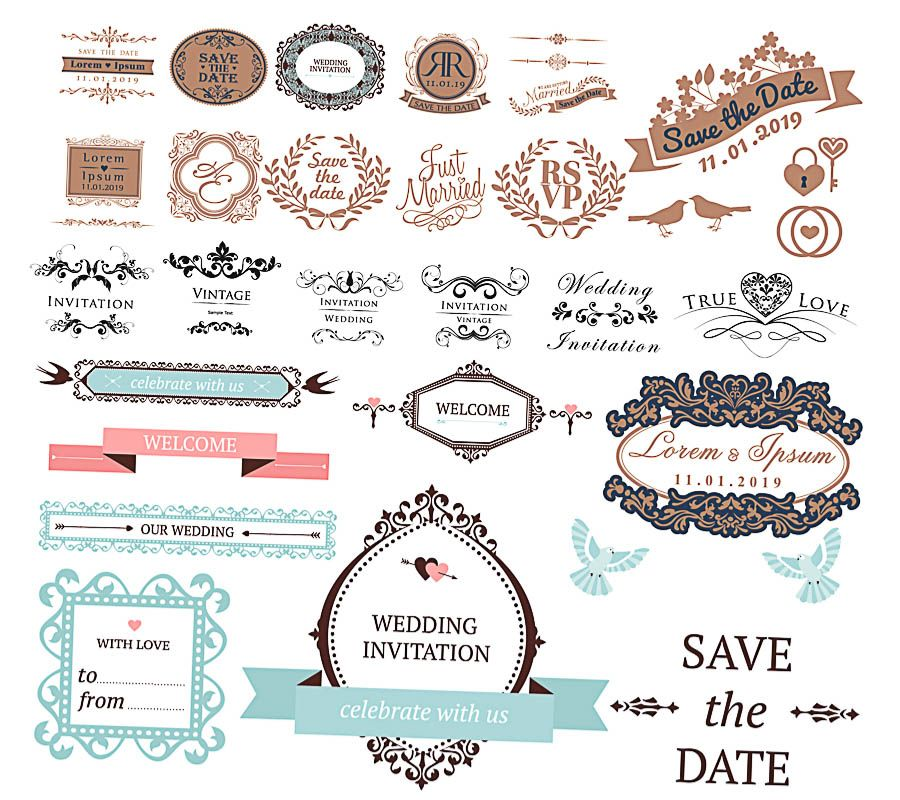 900x800 Decoration Elements For Wedding Invitation Vector Free For